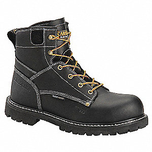 "6""H Men's Work Boots, Composite Toe Type, Leather Upper Material, Black, Size 9-1/2D"