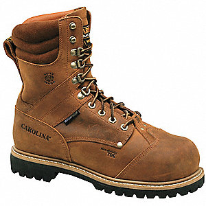 "8""H Men's Work Boots, Composite Toe Type, Leather Upper Material, Brown, Size 13E"