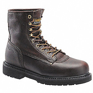 "8""H Men's Work Boots, Steel Toe Type, Leather Upper Material, Brown, Size 10-1/2D"