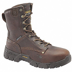 "8""H Men's Work Boots, Composite Toe Type, Leather Upper Material, Brown, Size 11-1/2D"