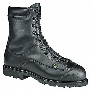 "8""H Men's Work Boots, Steel Toe Type, Leather Upper Material, Black, Size 12M"