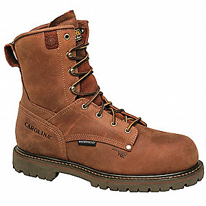 "8""H Men's Work Boots, Composite Toe Type, Leather Upper Material, Brown, Size 10-1/2EEE"