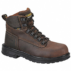 "6""H Men's Work Boots, Aluminum Toe Type, Leather Upper Material, Brown, Size 14D"