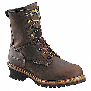 "8""H Men's Work Boots, Steel Toe Type, Leather Upper Material, Brown, Size 8-1/2EEEE"