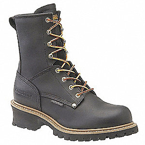 "8""H Men's Work Boots, Steel Toe Type, Leather Upper Material, Black, Size 10D"
