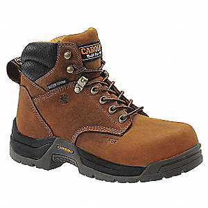 "6""H Women's Work Boots, Composite Toe Type, Leather Upper Material, Brown, Size 10M"