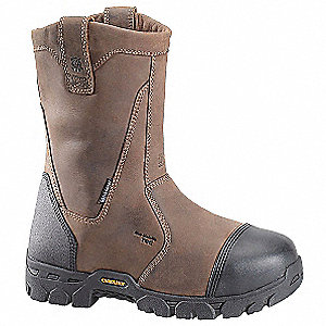 "10""H Men's Work Boots, Composite Toe Type, Leather Upper Material, Brown, Size 9D"