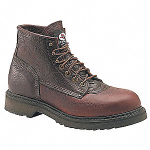 "6""H Men's Work Boots, Plain Toe Type, Leather Upper Material, Brown, Size 7-1/2"