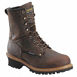 "8""H Men's Work Boots, Plain Toe Type, Leather Upper Material, Brown, Size 9-1/2"