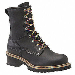 "8""H Men's Work Boots, Plain Toe Type, Leather Upper Material, Black, Size 10"