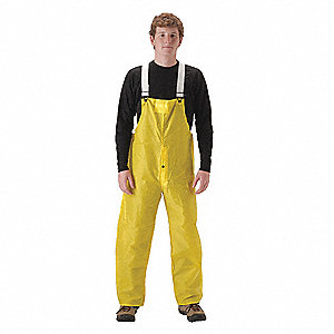 Rain Bib Overall, High Visibility: No, ANSI Class: Unrated, Nylon, Polyurethane, 2XL, Yellow
