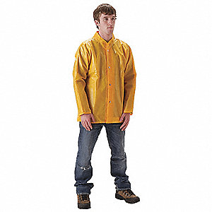 Rain Jacket, High Visibility: No, ANSI Class: Unrated, Nylon, Polyurethane, 2XL, Yellow
