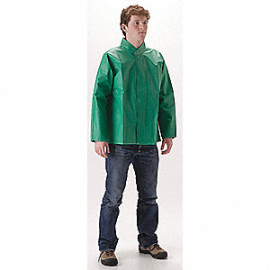 "Unisex Green PVC/Polyester Chemical Splash Jacket, Size XL, Fits Chest Size 48"" to 50"", 30"" Jacket L"