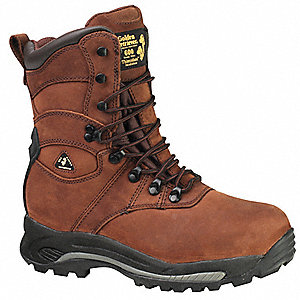 "9""H Men's Work Boots, Composite Toe Type, Leather Upper Material, Brown, Size 10M"