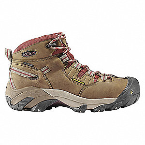 Women's Work Boots, Steel Toe Type, Leather Upper Material, Brown, Size 9-1/2M