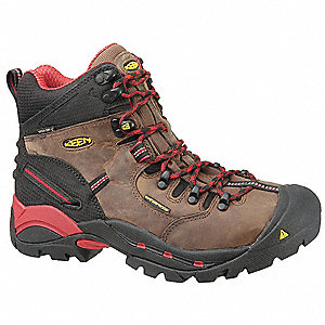 Men's Work Boots, Steel Toe Type, Leather Upper Material, Brown, Size 7D
