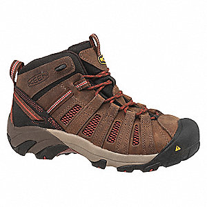 Men's Work Boots, Steel Toe Type, Leather Upper Material, Brown, Size 7EE