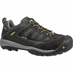 Men's Work Boots, Steel Toe Type, Leather Upper Material, Black, Size 10D