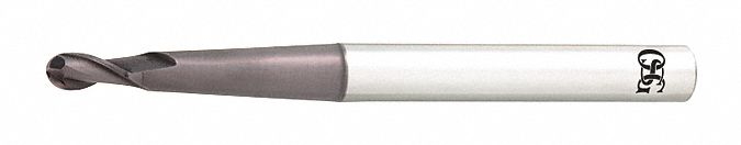 Ball End Mill,  3/16 in,  Carbide,  TiAlN,  Non-Coolant Through