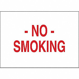 "No Smoking, No Header, Plastic, 10"" x 14"", Surface"