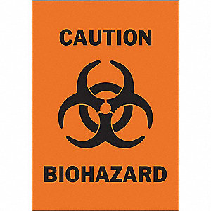 "Biohazard, No Header, Plastic, 14"" x 10"", With Mounting Holes"