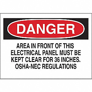 "Electrical Hazard, Danger, Vinyl, 5"" x 7"", Adhesive Surface"