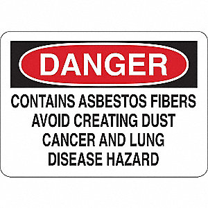 Danger Sign,Contains Abestos Fibrs,Vinyl