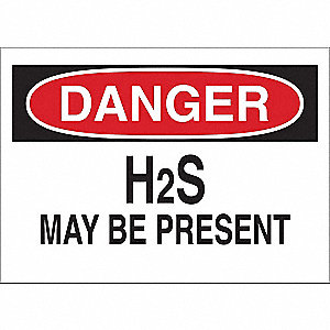 "Chemical, Gas or Hazardous Materials, Danger, Vinyl, 7"" x 10"", Adhesive Surface"