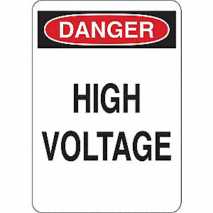 Danger Sign,High Voltage,Plastic,7in.W