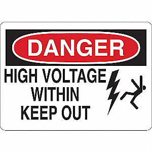 "Electrical Hazard, Danger, Vinyl, 10"" x 14"", Adhesive Surface"
