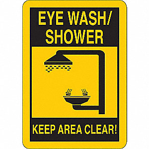 "Keep Clear, Eye Wash/Shower, Vinyl, 14"" x 10"", Adhesive Surface"
