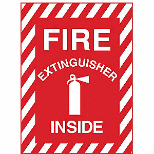 Fire Extinguisher Sign,7 in. W,English