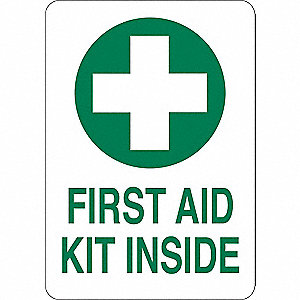 "First Aid, No Header, Aluminum, 10"" x 7"", With Mounting Holes"