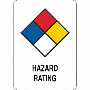 Safety Sign,Plastic,Hazard Rating,10in H