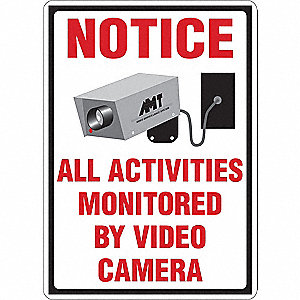 "Security and Surveillance, No Header, Aluminum, 14"" x 10"", With Mounting Holes"