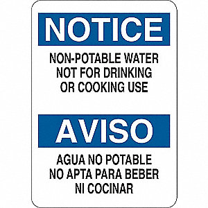 Notice Sign,Bilingual,Plastic,10 in. H