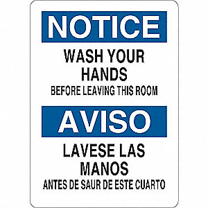 "Wash Hands, Notice, Plastic, 14"" x 10"", With Mounting Holes"
