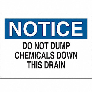 "Chemical, Gas or Hazardous Materials, Notice, Vinyl, 5"" x 7"", Adhesive Surface"