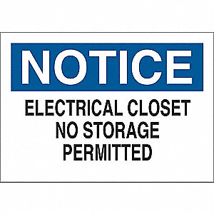 "Electrical Hazard, Notice, Vinyl, 7"" x 10"", Adhesive Surface"