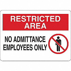 "Authorized Personnel and Restricted Access, Restricted Area, Vinyl, 5"" x 7"", Adhesive Surface"
