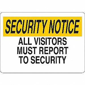 "Employees and Visitors, Security Notice, Vinyl, 10"" x 14"", Adhesive Surface"