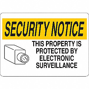 "Security and Surveillance, Security Notice, Vinyl, 5"" x 7"", Adhesive Surface"