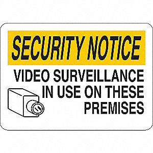 "Security and Surveillance, Security Notice, Vinyl, 7"" x 10"", Adhesive Surface"