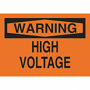 Warning Sign,Plastic,7 in H,Black/Orange