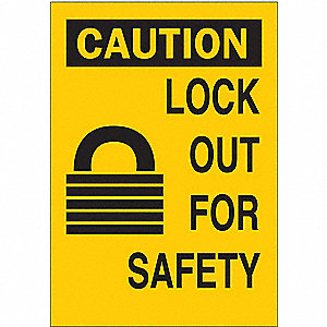"Lockout Tagout, Caution, Plastic, 14"" x 10"""