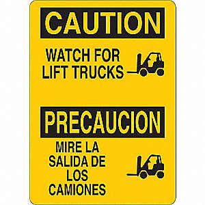 "Lift Truck Traffic, Caution, Aluminum, 14"" x 10"""