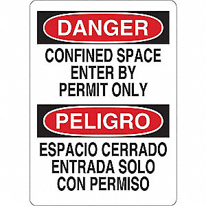 "Confined Space, Danger, Aluminum, 10"" x 7"", With Mounting Holes"