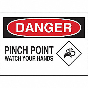 "Keep Hands Clear, Danger, Vinyl, 7"" x 10"", Adhesive Surface"