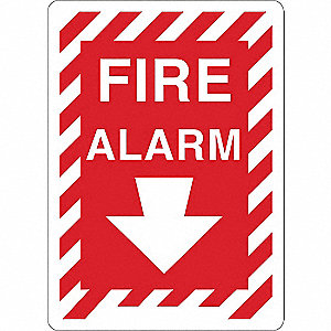 Fire Alarm Sign,Plastic,Red/White,Text