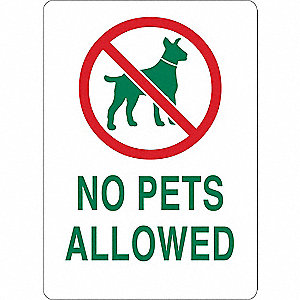 "Pets, No Header, Plastic, 14"" x 10"", With Mounting Holes"